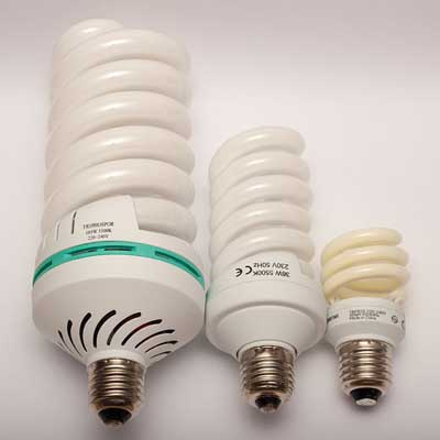 CFL bulbs is varying sizes.