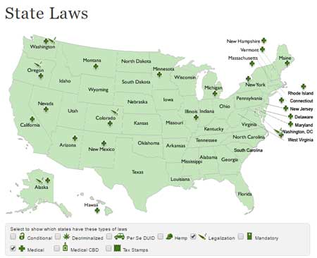 Click here to view a map of cannabis laws for medical marijuana and recreational weed in the United States (found on the NORML website)