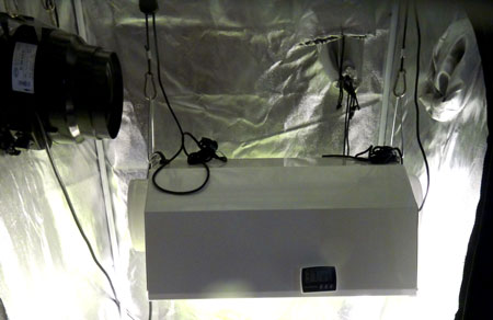 Exhaust fan without ducting to connect to the grow light