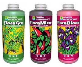 General Hydropnics Flora trio is a great choice for growing cannabis in hydro