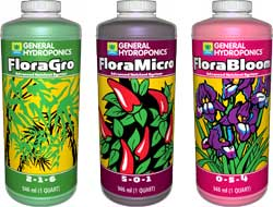 General Hydroponics Flora Series is a cheap, easy, and effective nutrient system for growing marijuana hydroponically, just start at 1/4 to 1/2 of their regular nutrient schedule. Works great for growing in coco coir and other hydroponic applications.
