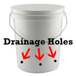 A hempy bucket has drainage holes on the side - get a 5-gallon bucket on Amazon.com and make your very own hempy bucket!