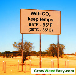 With CO2 enrichment when growing marijuana, you should keep temperatures much higher than normal