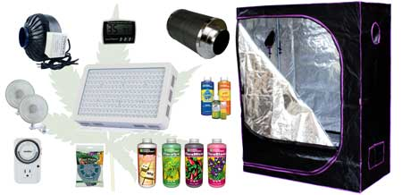 Example of everything on the shopping list for the LED grow light cannabis setup