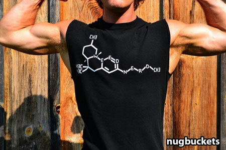 A view of Nugbuckets wearing a very special t-shirt and showing off his muscles