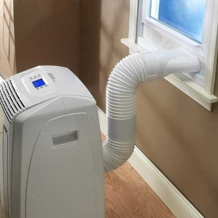 Portable AC unit with window fitting