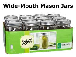 Glass, quart-sized, wide-mouth mason jars are ideal for cannabis storage