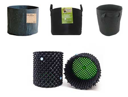 Examples of Smart Pots (fabric pots) and Air Pots (containers with holes along the sides)