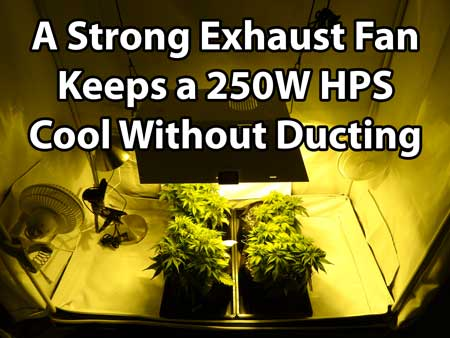 When it comes to setting up your HPS grow light indoors, no one likes using ducting if they don't have to! But with a 250W you may be able to get away without ducting as long as you use a powerful exhaust fan