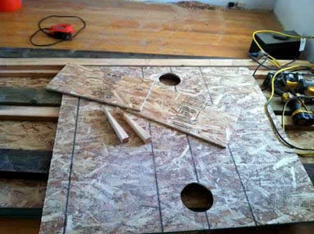 Getting all the wood pieces ready to make the fake window