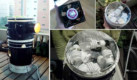 Upgrade space bucket by installing a CFL light-top