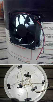 Cut holes on sides of bucket and install your exhaust fan
