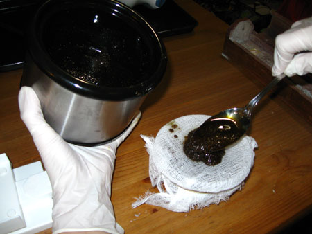 Pour or spoon the mixture onto the cheesecloth...