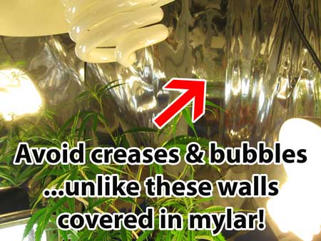 Avoid creases or bubbles... unlike these walls covered in mylar! This will reduce the reflectivity of your walls and can cause bright or hot spots.