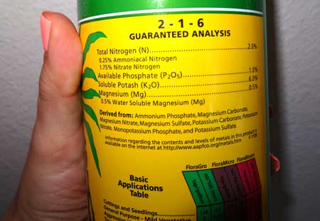 Example of the label on a nutrient bottle - the guaranteed analysis tells you want's inside the bottle