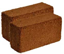 Two coco coir bricks - a great base for growing cannabis in a hand-watered hydro setup
