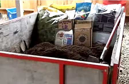 Pour 2 bags of Roots Organic soil into container