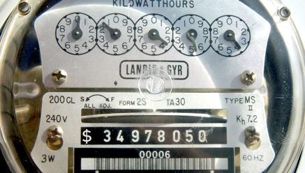 A totally standard electric meter that has not been edited.