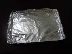Line a baking sheet with aluminum foil so the buds won't stick to your pan