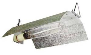 """Example of a """"bat wing"""" reflector for growing cannabis with an HPS grow light"""