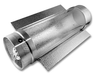 "Example of a ""Cool Tube"" reflector/hood, which is air-cooled, but usually has a smaller reflector than a true air-cooled hood"