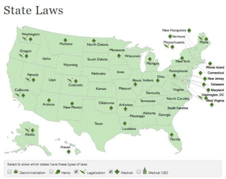 A quick overview of United States cannabis laws (diagram from August 2018)