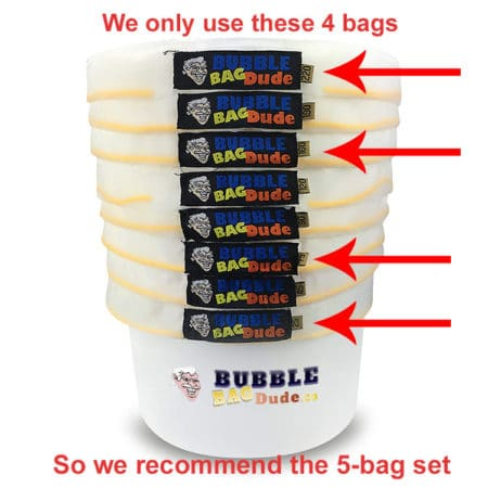 A description of which bags we use (25, 73, 160, 220)