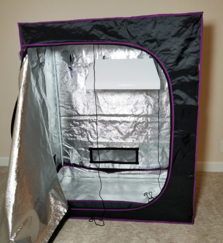 Hang the grow light inside the grow tent
