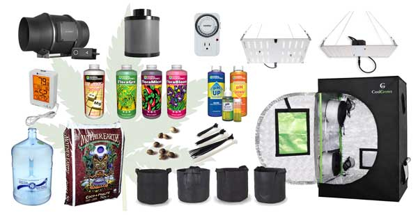 Everything you need to get for the complete mini tent grow setup with an HLG 100 Quantum Board LED grow light