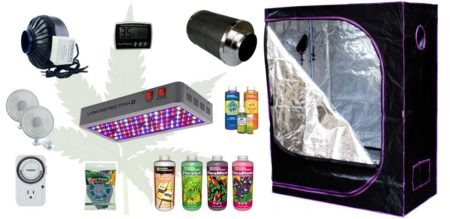 Example of an LED grow light setup in a grow tent with complete shopping list