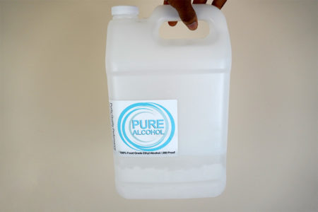A mostly-empty bottle of pure ethanol
