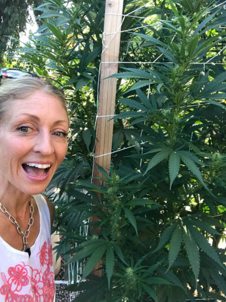 jennybee698 enjoying her outdoor marijuana plants