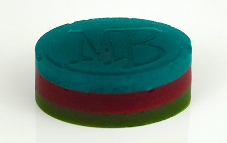 A triple-layered cannabis gummy