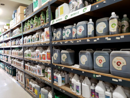 This hydroponics store contains shelves of nutrients and supplements that have been designed for growing marijuana
