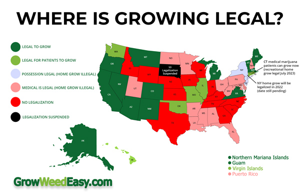 Where is growing weed legal in the United States? This infographic tells you, state by state!